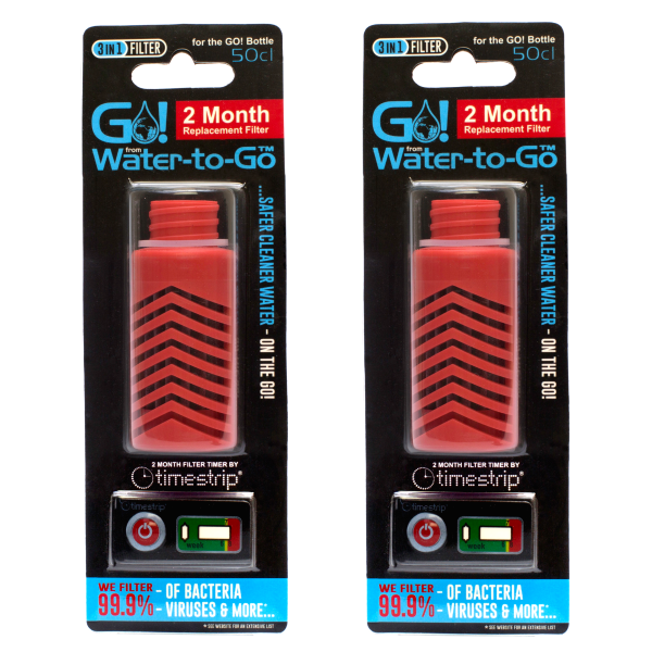 Water-to-Go Replacement Filters for the 50cl Water Bottle In Red