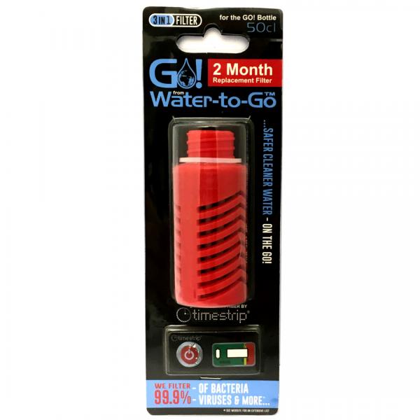Filtre de remplacement Water-to-Go pour le GO! Bouteille d'eau en rouge